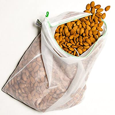 Reusable Produce Bags - Strong Washable Polyester Mesh. Grocery, Vegetables, Fruits, Nuts, Seeds, Beans, Bulk Foods. Multiple Storage Uses. Eco Friendly - No More Plastic Bags - Pack of 5