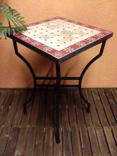 Mosaiktisch Beistelltisch Sonne Natur/ Bordaux, 50x50cm NEU günstig bestellen