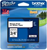 """Brother P-touch ~3/4"""" (0.7"""") Black on White Standard Laminated Tape - 26.2 ft. (8m)"""