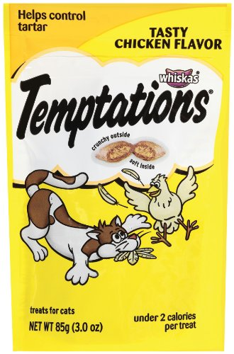Whiskas Temptations Tender Chicken Flavour Treats for Cats, 3-Ounce Pouches (Pack of 12)