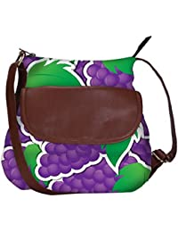 Snoogg Purple Grape Sticker Background Card In Vector Format Casual Spacious MultiPurpose Sling Bag Carry Around