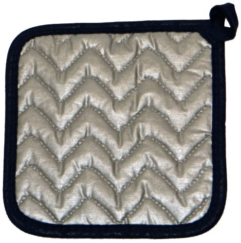 Phoenix 7-Inch Inch Gingham Potholder with Silicone One Side, Black, Package of 4
