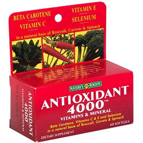Nature's Bounty Antioxidant 4000, Vitamins & Mineral, 60 Softgels (Pack of 2)