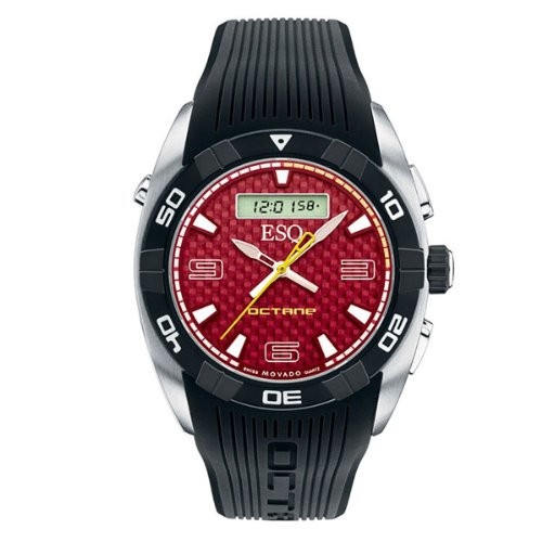 MOVADO Watch:ESQ by Movado Men's 07301377 Octane Black Rubber Strap Red Carbon Fiber Dial Watch Images
