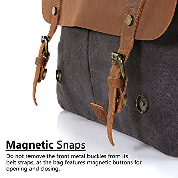 "Langforth Leather Vintage Canvas Laptop Bag, 13""(L)x10.5""(H) x 4.1""(W), Grey"