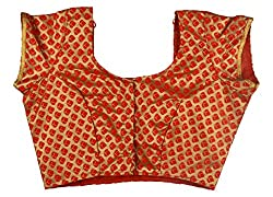 Maya Women's Cotton Blouse (60_34, Red & Golden, 34)