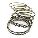 Ladies Fashion Latest Style 8 Pc Burnished Gold Effect Bangle Set Brand New