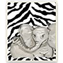 The Kids Room Rectangle Wall Plaque, Elephant with Black Zebra Stripes