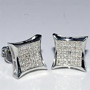 Diamond Earrings Mens Kite Shape Princess Cut style Round Pave .2ctw Screw Back