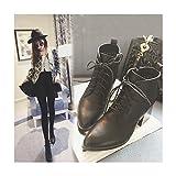 ブーツ レディース ショートブーツ 編み上げブーツ シンプル 靴 美脚 ブーティ 太ヒール 疲れにくい レディースブーツ 大きいサイズ ハイヒール 女性 靴 ショート 上品 くつ シューズ エンジニアブーツ ポインテッドトゥ 太ヒール ジッパー付き 大きいサイズ