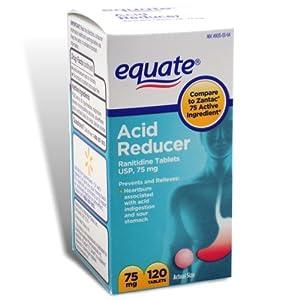 Equate - Acid Reducer, Non-Prescription Strength, Ranitidine 75 mg, 120 Tablets, Compare to Zantac