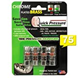 Quick Pressure - PSI-75 Tire Pressure Monitoring Valve Caps (4 units /pack) Chrome Plated Brass