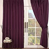 Faux Silk Pencil Pleat Curtains, Aubergine, 90 x 90 Inchby Linens Limited