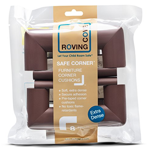 """Roving Cove® 8-Piece """"Safe Corner® Cushion"""" - PRE-TAPED CORNERS; 8-Pack - COFFEE; Premium Childproofing Corner Guard; Child Safety, Home Furniture Safety Bumper, Baby Proof Table Corner Protector"""