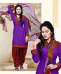 SareeShop Women's Georgette Semi-Stitched Dress Material (B2B1071_Blue_Free Size)