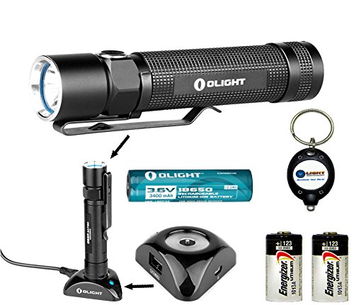 Bundle: Olight S20R Baton Rechargeable Xm-L2 550 Lumens Led Flashlight With Type 18650 Li-Ion Battery, Charging Base With Two Energizer Cr123A Lithium Back-Up Batteries And Lightjunction Keychain Light