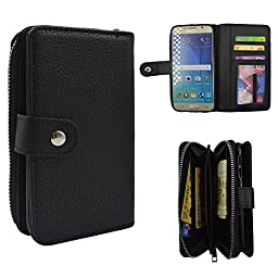 Galaxy S6 Case, Seedan PU Leather Wallet Zipper Case Detachable Folio Flip Holster Carrying Case with Card Slot Wrist Strap for Samsung Galaxy S6 Black
