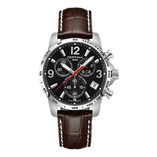 Certina Men's DS Podium 41mm Brown Leather Band Steel Case Quartz Black Dial Watch C034.417.16.057.00