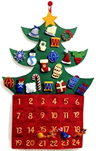 Christmas Tree Felt Advent Calendar with Velcro Ornaments