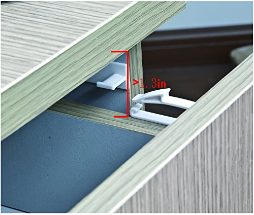 Jiuhong Self Adhesive Baby Safety Invisible Drawer Lock for Child Proofing, 8 Packs (Interlayer Space Need>1.3
