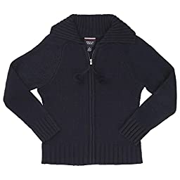 French Toast Pom-Pom Zip-Up Sweater Girls Navy 7