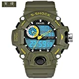 SMAEL SL1385 Men's Sports Analog Digtal Wrist Watch Dual Quartz Movement Military Time Water Resistant with Backlight (Green) (Color: Green)