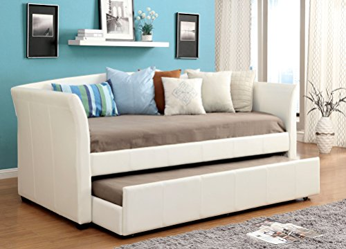 Furniture of America Elliss Leatherette Upholstered Daybed with Twin Trundle, White