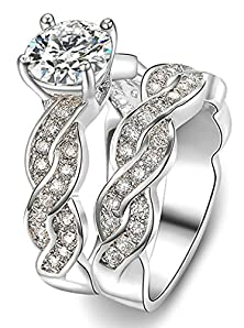 buy Double Twisted Cubic Zirconia Width 10Mm 18K Gold-Plated Ring Round Shape Us Size 6 Silver Women