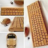 Smart Tech Handcrafted Bamboo Wireless PC Keyboard Set
