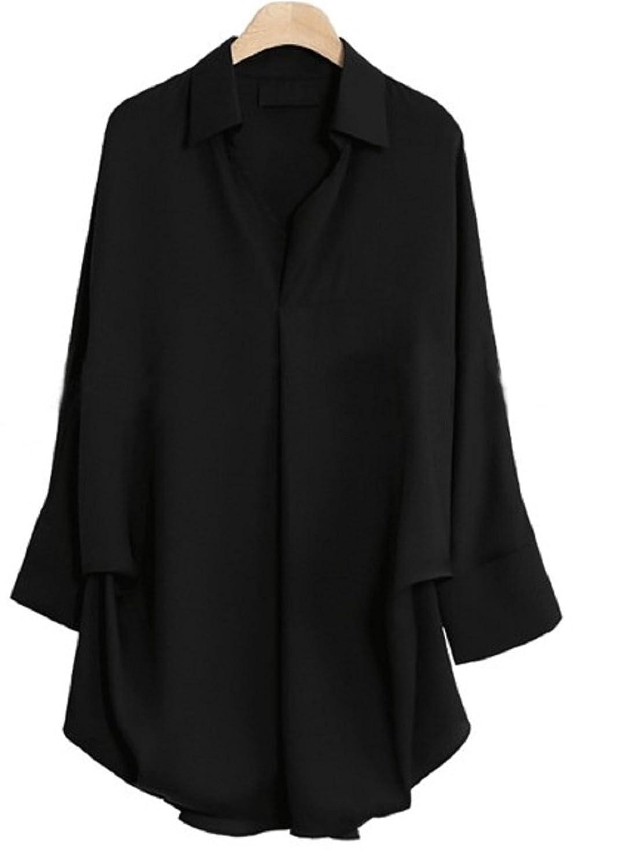 Amazon.co.jp: (Route de soleil)Vネック ドルマンスリーブシャツ ゆるシャツ 7部袖 サテン ブラウス プルオーバー: 服&ファッション小物通販
