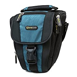 Evecase Durable Compact Digital SLR Camera Carrying Pouch Nylon Case with Strap- Black/Blue for Nikon D810 D800 D750 D610 D600 D3200 D7100 D5200 D5300 D3300, Pentax K-S2, K-5, Fujifilm DSLR