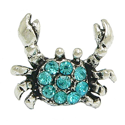 Blue Crystal Crab Charm for Pandora Braclets - by Olympia Beads & Charms - Compatible for Pandora, Troll, Biagi, Chamilia Bracelets & Necklaces
