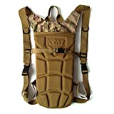 AENMIL Portable Tactical Military Army Style 3L Water Backpack Water Bladder 600D Nylon Water Resistant Water Army Bag with Drinking Tube for Climbing with Small Pouches (CP Camo)