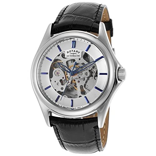 Rotary Men's Skeleton Dial Black Leather Strap Watch (28CEB59)