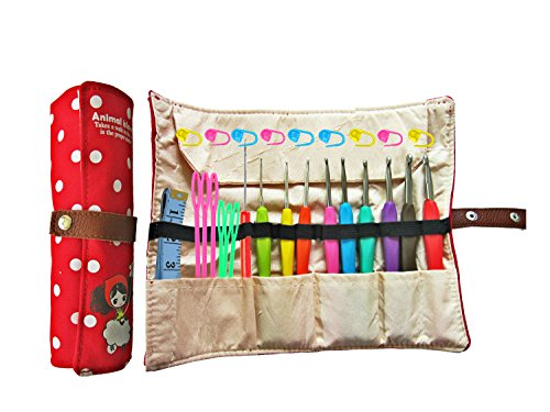 Ergonomic Crochet Hooks with Grips,Crochet Hook Case Organizer Roll Up,Crochet Kit,9pcs Comfort Grip Crochet Needles,Rubber Handle Crochet Hook Knitting Needle Set With Latch Hook&Measuring Tape (Crochet Starter Kit compare prices)
