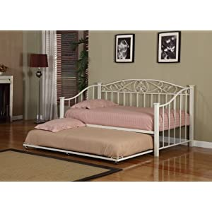 Cream White Finish Metal Twin Size Day Bed (Daybed) Frame With Trundle & Mattresses