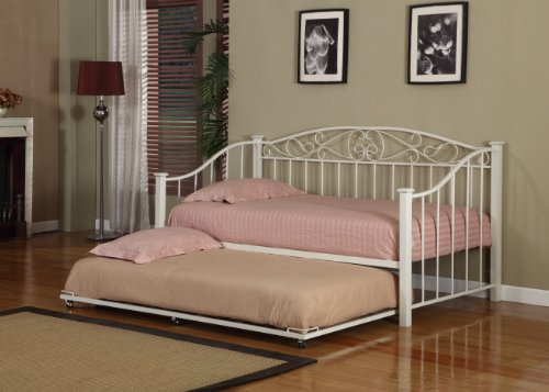 Elegant Very Cheap Cream White Finish Metal Twin Size Day Bed Daybed Frame With Metal Slats On Sale