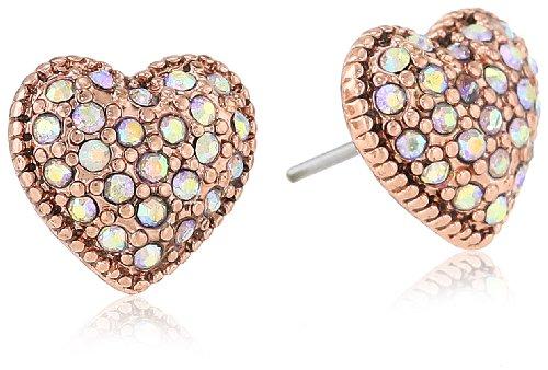 "Betsey Johnson ""Iconic Vintage Rose"" Crystal Heart Stud Earrings"