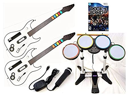 Nintendo Wii-U and Wii ROCK BAND 3 Game Set with 2 GUITARS Wireless Drums Microphone bundle