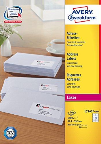 AVERY - Zweckform QuickPEEL étiquettes adresses, 99,1 x 33,9mmblanc, bord tout autour, coins arrondi