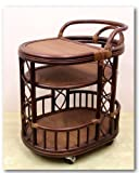 Handmade High Quality Woven Natural Rattan Wicker Serving Cart with Wheels Dark Brown Fully Assembled