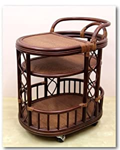 Handmade High Quality Woven Natural Rattan Wicker Serving Cart with Wheels Dark Brown... by Rattan Wicker Furniture