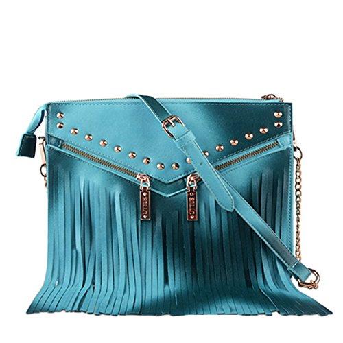 Cfanny Women's Zipper Fringed Structure Gradient Crossbody Handbag,Blue