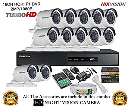 Hikvision-DS-7216HQHI-E2-16CH-Dvr,-12(DS-2CE16DOT-IRP)-Bullet-Camera-(With-Mouse,-Remote,2TB-HDD,Cable-,-Bnc&Dc-Connectors,Power-Supply)
