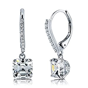 BERRICLE Sterling Silver Cubic Zirconia CZ Wedding Bridal Fashion Leverback Earrings
