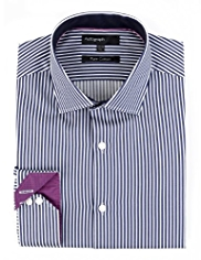 Autograph Pure Cotton Satin Bengal Striped Shirt