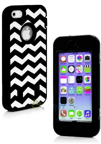 Mylife (Tm) Classic Black Zig Zag Style 3 Layer (Hybrid Flex Gel) Grip Case For New Apple Iphone 5C Touch Phone (External 2 Piece Full Body Defender Armor Rubberized Shell + Internal Gel Fit Silicone Flex Protector + Lifetime Waranty + Sealed Inside Mylif