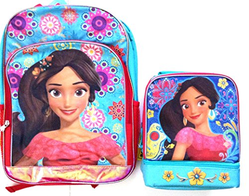 "Disney Elena of Avalor 15.5"" Backpack Book Bag with Domed Lunch Bag Set"