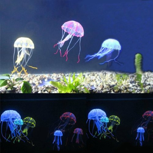 (Pink) Artificial Silicone Vivid Jellyfish For Fish Aquarium Decor