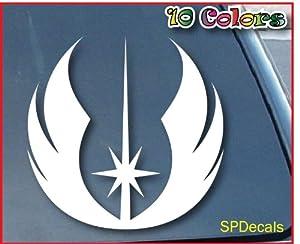 Bumper Sticker / Decals Jedi Star Wars Car Window Vinyl Decal Sticker 101mm Tall (Color: White)